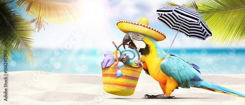 Tuinposter Papegaai Papagei als Paradiesvogel am Strand - Urlaub Konzept