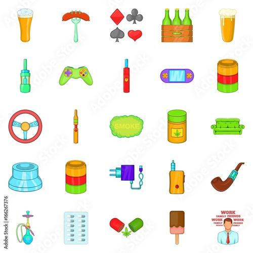 Compulsive gambling icons set, cartoon style плакат