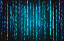 Blue Neon Binary Code On A Black Background