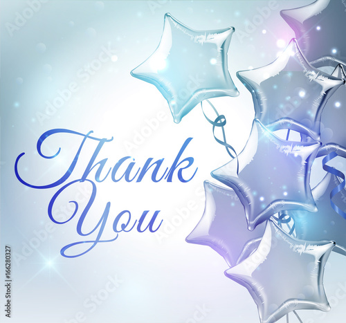 Thank You Background With Star Shaped Balloons Vector Illustration
