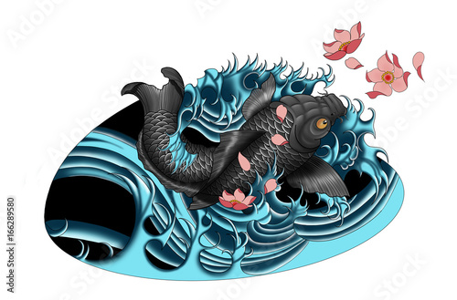 Japanese Koi Fish Tattoo Design Swimming In Water Oriental Style