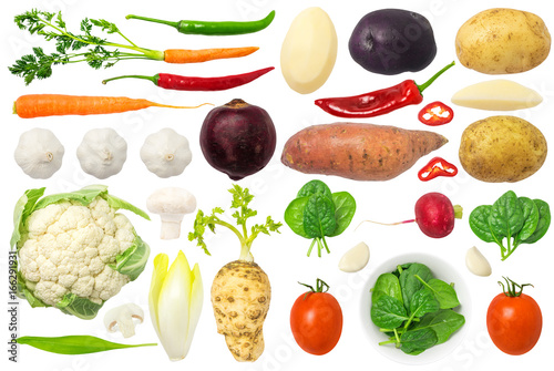 Poster Groenten Vegetables Isolated on White Background Set 3