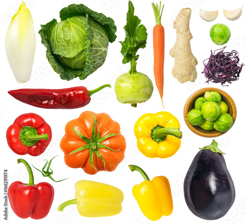 Tuinposter Groenten Vegetables Isolated on White Background Set 4