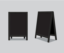 Vector Wooden Black Menu Announcement Board.