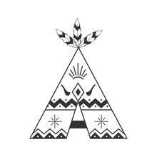 Cute Tipi Illustration Isolated On White With Feathers And Indian Ornaments. Vector Wigwam Boho Style