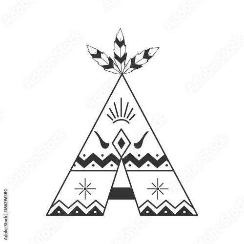Cute tipi illustration isolated on white with feathers and indian ornaments Canvas