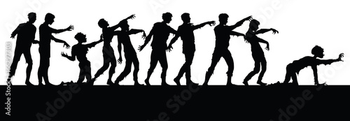 Fotografiet Vector silhouettes of zombies isolated on white background