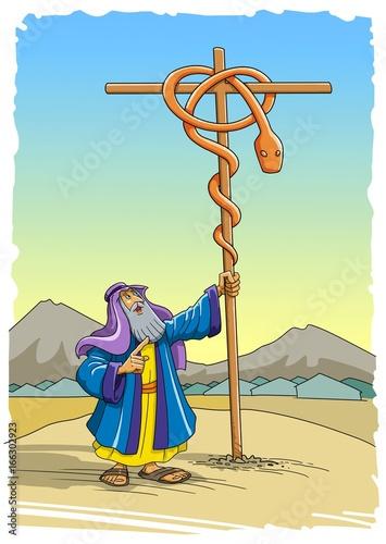 Foto op Plexiglas Feeën en elfen Moses puts the brazen serpent