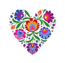 Colourful Folk Heart On White ...