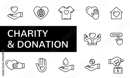 Fotografie, Obraz  Charity and donation icon set