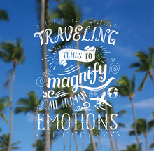 Vector Hand Lettering Quote On The Palm Background For Poster.