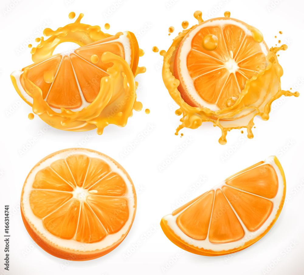 Fototapeta Orange juice. Fresh fruit and splashes. 3d realism, vector icon set