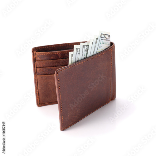 Fotografía  Brown wallet with money isolated on white
