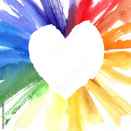 Watercolor color wheel heart frame. Greeting card with copyspace for ...