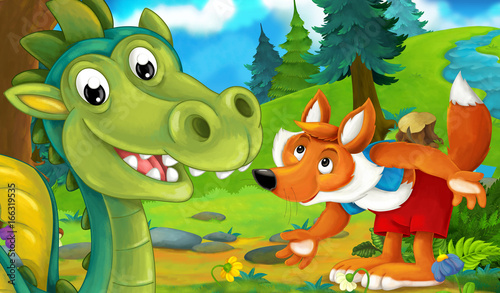 Foto op Canvas Kasteel cartoon background of a dragon in the forest talking to wolf - illustration for children