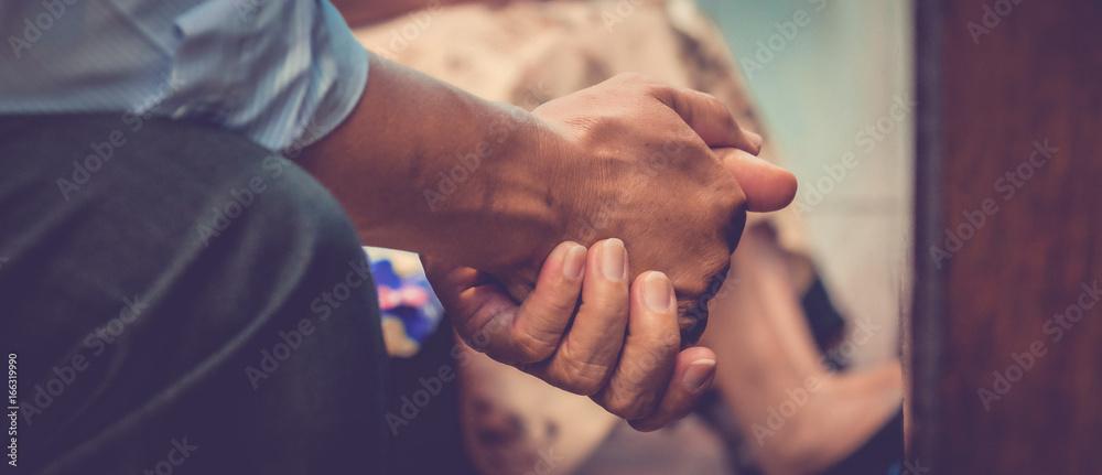 Fototapety, obrazy: Close up prayer's hand pray in church, Pastor pray to God, with blank copy space