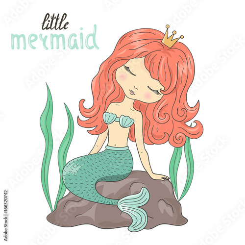 Photographie  Beautiful little Mermaid sitting on the rock