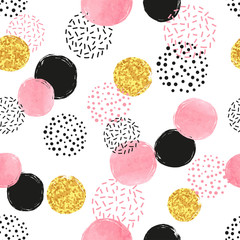 FototapetaSeamless dotted pattern with pink, black and golden circles. Vector abstract background with round shapes.