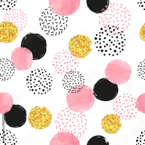 Seamless dotted pattern with pink, black and golden circles Canvas Print
