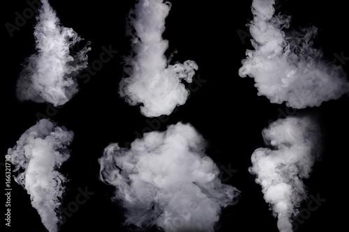 Türaufkleber Rauch Set of abstract white smoke against dark background