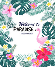 A Tropical Card With Palm Leaves, Flamingo And Exotic Flowers.. Vector