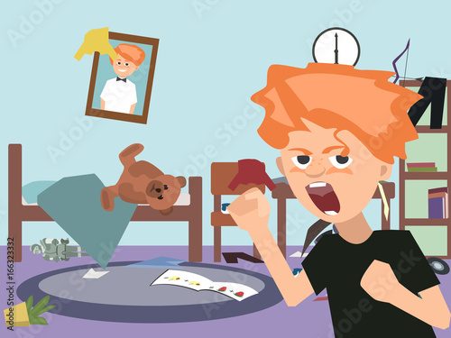 problem child at messy kids room cartoon - Buy this stock ...