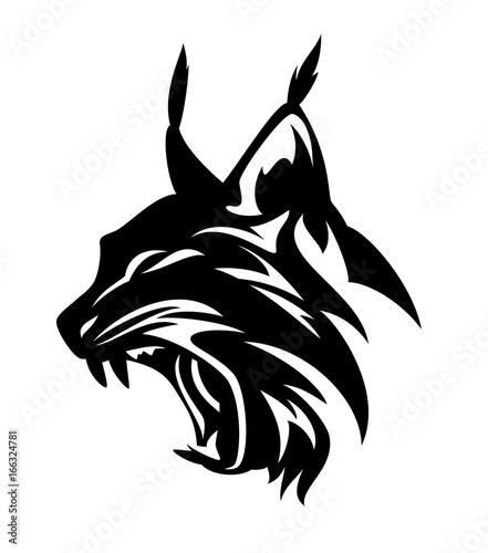 Vászonkép  angry lynx head - black and white vector design