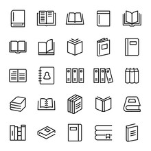 Set Of 25 Book Thin Line Icons.