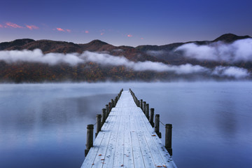 Obraz na PlexiJetty in Lake Chuzenji, Japan at dawn