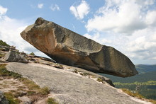 Huge Boulder On Top Of A Mountain.
