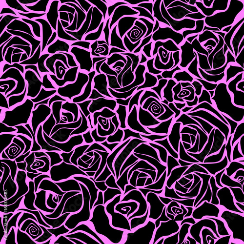 Keuken foto achterwand Vlinders in Grunge Seamless pattern with black roses