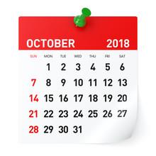 October 2018 - Calendar