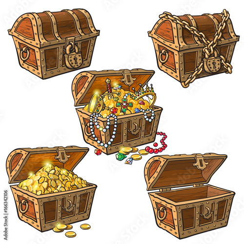 Fotografie, Obraz  Open and closed pirate treasure chests, locked, empty, full of coins and jewelry, hand drawn cartoon vector illustration isolated on white background