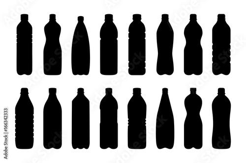 Fototapeta Set of silhouettes of water bottles, vector illustration obraz