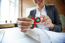 Businesswoman With Fidget Spin...