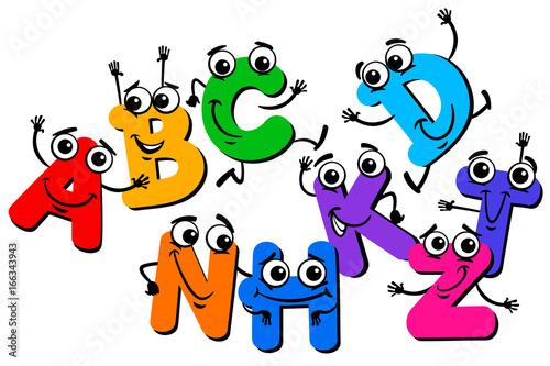Aluminium Prints Creatures funny letter characters cartoon illustration