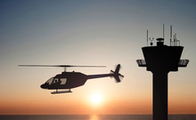 Helicopter On The Sunset