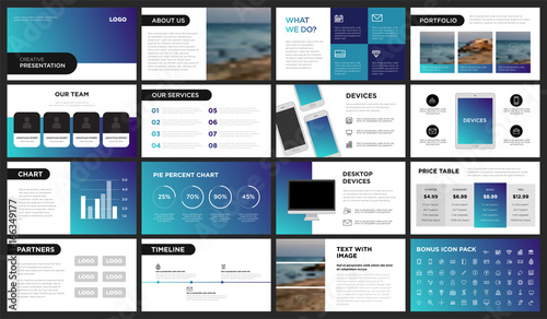 Fototapeta Modern Purple and Blue Gradient Presentation Template. You can use it presentation, flyer and leaflet, corporate report, marketing, pitch, annual report, catalog. obraz