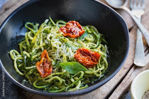 Zucchini Pasta in Pesto sauce with Sun dried Tomato