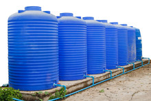 Blue Water Tank Isolated On Wh...