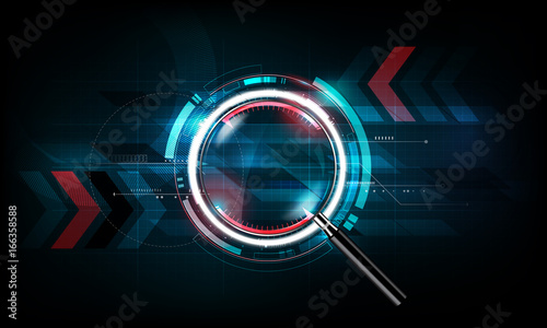 magnifying glass with scan search concept and futuristic electronic technology b Wallpaper Mural