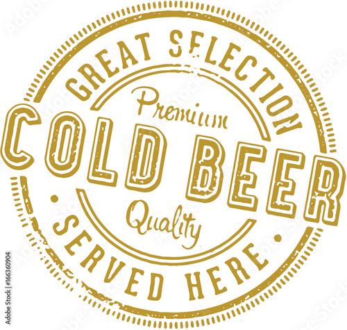 Fotografie, Obraz  Vintage Cold Beer Stamp Sign