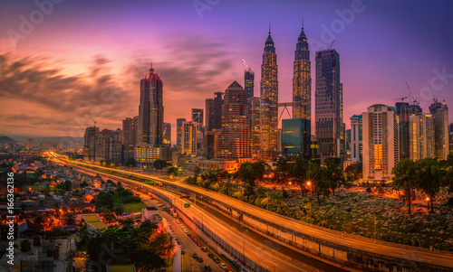Cityscape of Kuala lumpur city skyline at sunrise in Malaysia. Wallpaper Mural