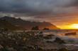 A fiery sunset over Benijo beach in Tenerife
