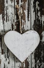 Wooden Love Heart On Wooden Ba...