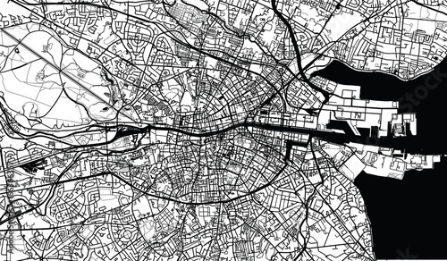 Fotomural Urban city map of Dublin, Ireland