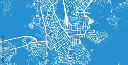 Fotomural Urban city map of Helsinki, Finland