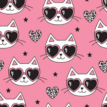 Seamless Pink Cat With Leopard...