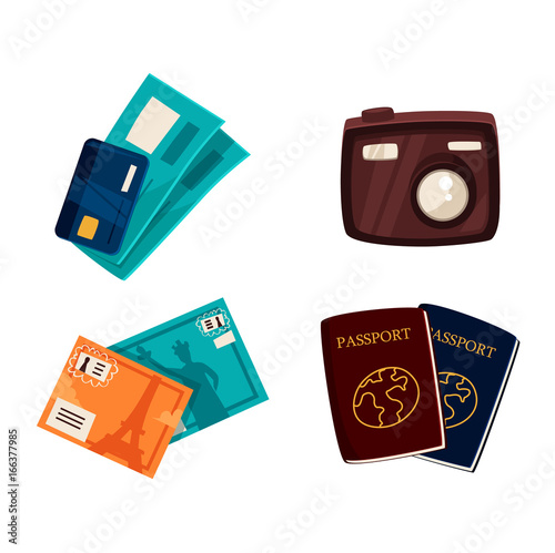 Travel, vacation objects - passports, credit card, tickets