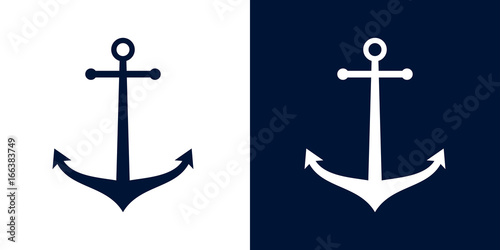 Ships anchor vector icon Canvas Print